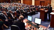 Nord-Mazedonien David-Maria Sassoli im Parlament in Skopje
