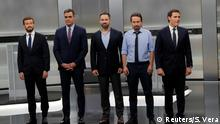 Main candidates for Spanish general elections People's Party (PP) Pablo Casado, Spanish acting Prime Minister and Socialist Workers' Party (PSOE) Pedro Sanchez, Ciudadanos' Albert Rivera, Unidas Podemos' Pablo Iglesias and Vox's Santiago Abascal prepare for a televised debate ahead of general elections in Madrid, Spain, November 4, 2019. REUTERS/Susana Vera