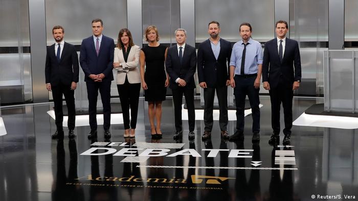 Лидеры ведущих испанских партий перед теледебатами, 4 ноября 2019 года