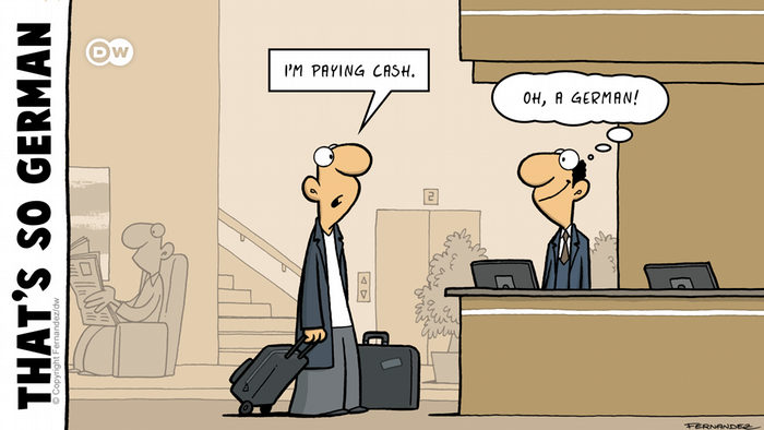 Fernandez cartoon: A man arriving at a hotel and being recognized as a German as he wants to pay cash