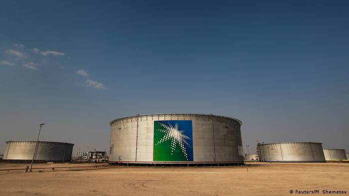 A picture showing branded oil tanks at Saudi Aramco oil facility in Abqaiq
