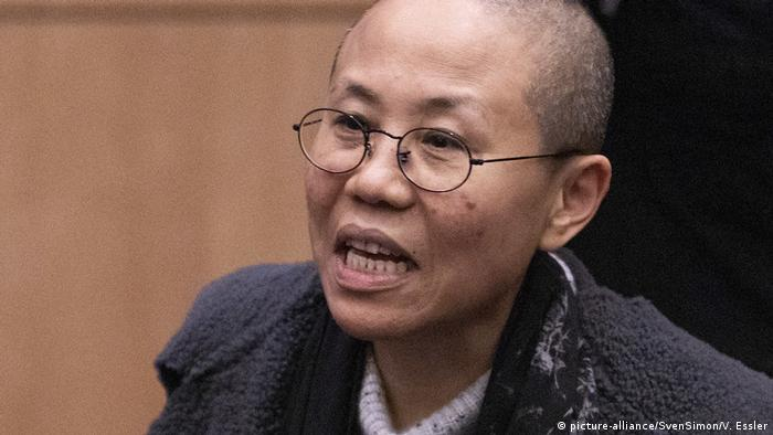 Liu Xia - woman with a shaved head and thin wired rimmed glasses (picture-alliance/SvenSimon/V. Essler)