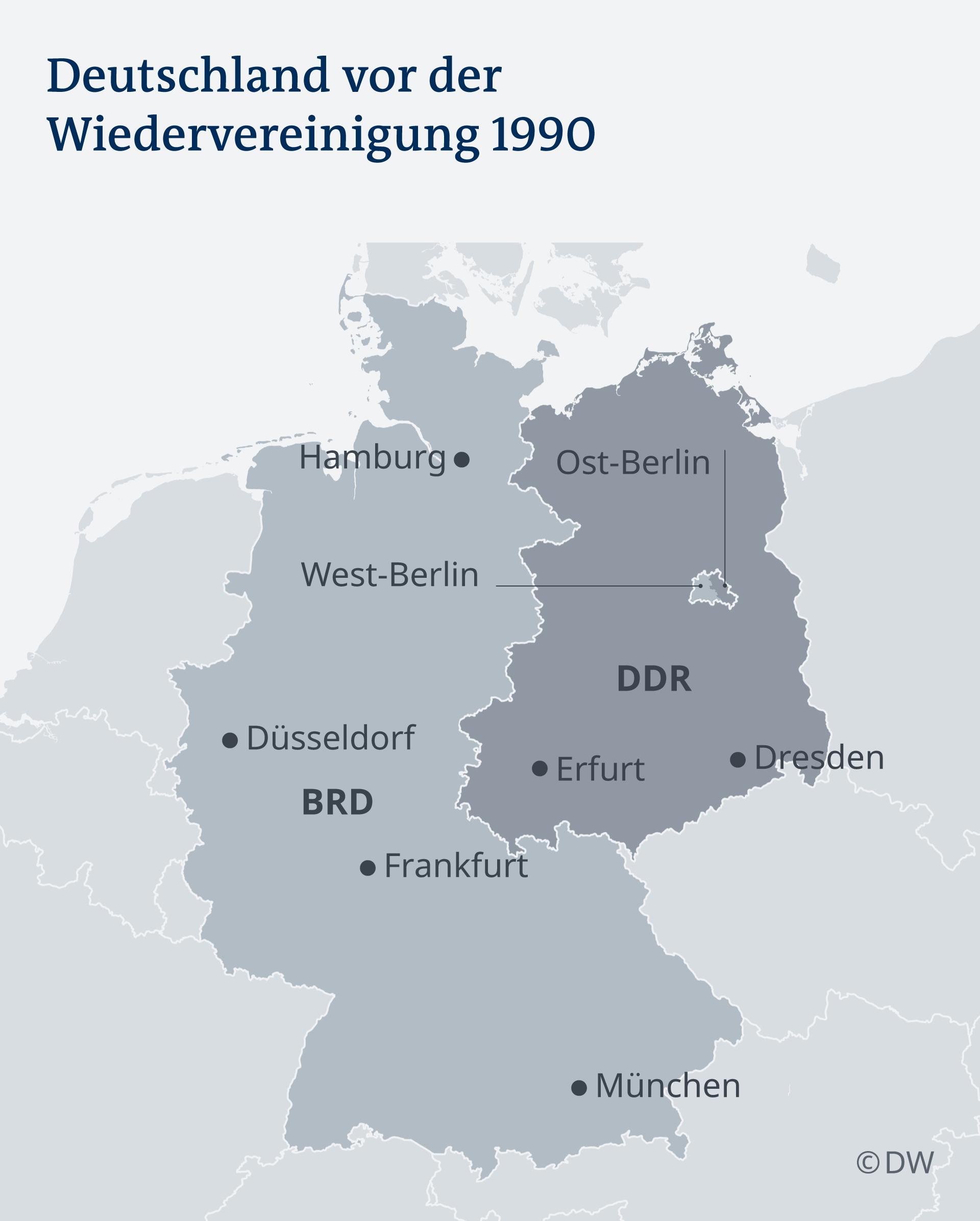Двете Германии преди да се обединят отново през 1990 година
