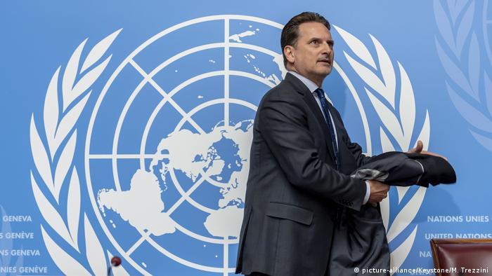 Пьер Крэенбюль в штаб-квартире ООН в Женеве