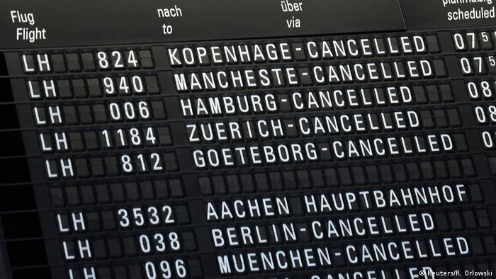 Lufthansa cancellations on a flight board at Frankfurt airport