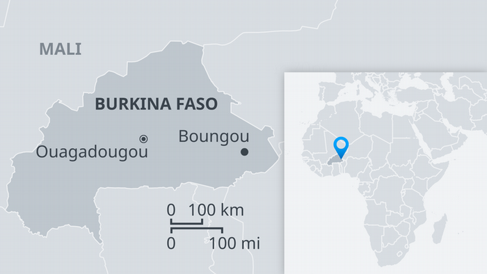Map showing Burkina Faso with Boungou, and within larger map of Africa EN