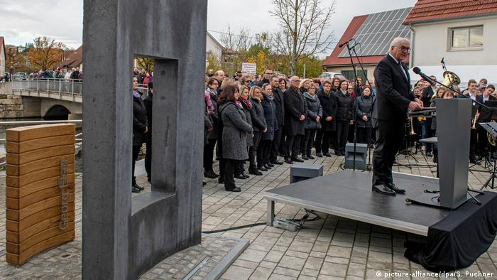 German President Frank-Walter Steinmeier at the inauguration of a memorial for Georg Elser