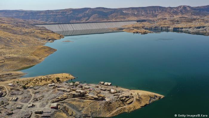 Reservoir filling behind Ilisu Dam in Turkey