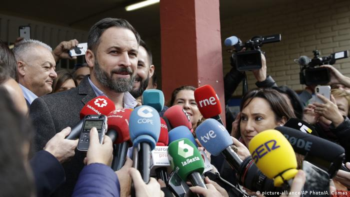 Santiago Abascal, leader of the far-right Vox party, speaks to reporters in Madrid