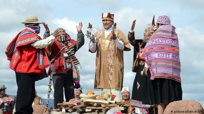 Evo Morales attending his ritual investiture as indigenous leader at the Pre-Columbian ruins of Tiahuanaco