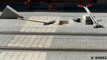 Bulgarien Bauarbeiter und Fensterputzer in Sofia