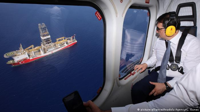 Turkish Energy Minister Fatih Donmez views Turkey's drill-ship 'Yavuz' operating in the Mediterranean Sea from a helicopter