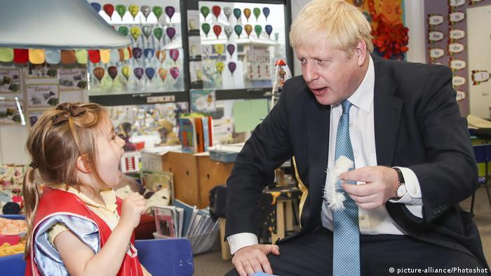 UK Prime Minister Boris Johnson visiting a primary school