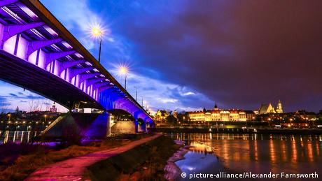 A picture of Slasko-Dabrowski Bridge over the Vistula River in Warsaw