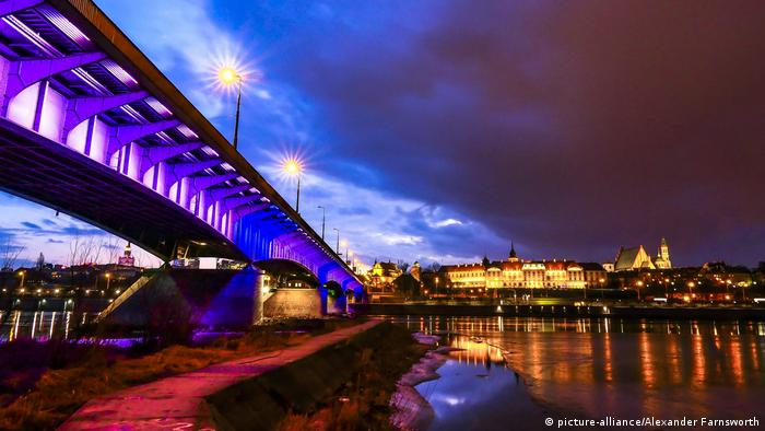 A picture of Slasko-Dabrowski Bridge over the Vistula River in Warsaw