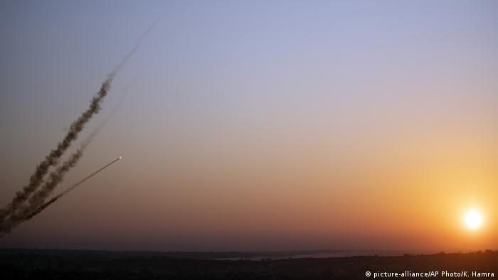 Palestinian rockets being fired from Gaza into Israel