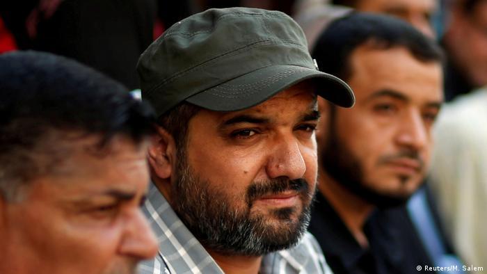 Palestinian Islamic Jihad commander Baha Abu el-Atta attends an anti-Israel military show