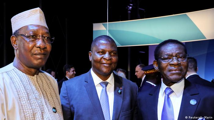 Chad's president, Idriss Deby, Central African Republic's president, Faustin Archange Touadera, and Equatorial Guinea's president, Teodoro Obiang Nguema Mbasogo, attend the plenary session of the Paris Peace Forum