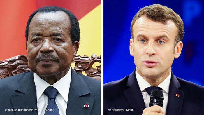 A side-by-side photo of Cameroon's President Paul Biya and French President Emmanuel Macron