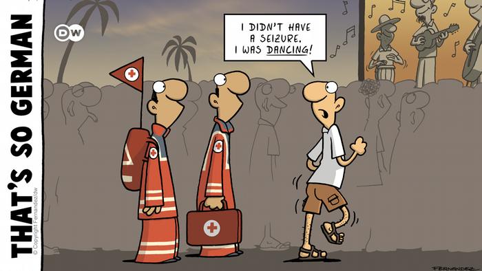 Cartoon, two paramedics and a man dancing