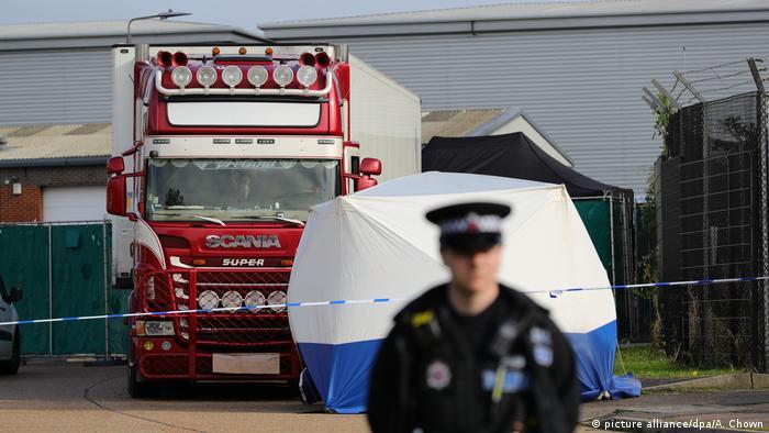 C'est dans le container de ce camion que les 39 victimes ont été retrouvées.