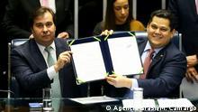 Brasilien Präsident Abgeordnetenhauses Rodrigo Maia und der Präsident des Senats Davi Alcolumbre