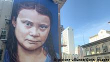 A mural of environmental activist Greta Thunberg has appeared in San Francisco (picture-alliance/Cover Images)