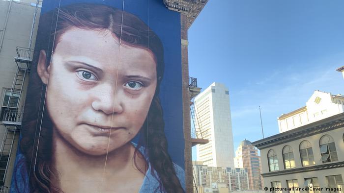 A mural of environmental activist Greta Thunberg has appeared in San Francisco