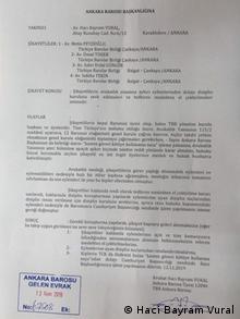 Türkei Petition von Haci Bayram Vural an die Anwaltskammer in Ankara
