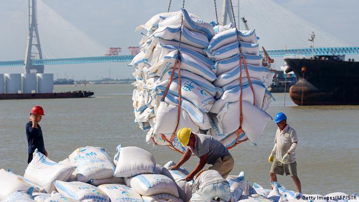Trabalhadores empilham sacas de soja em porto