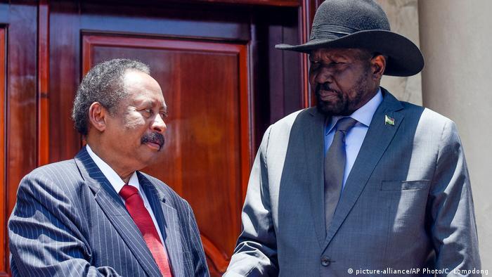 Primeiro-ministro do Sudão, Abdallah Hamdok, e Presidente do Sudão do Sul, Salva Kiir