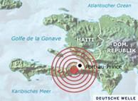 Episentrum gempa bumi di Haiti berada di kedalaman 10 km dengan kekuatan 7,0 pada skala Richter.