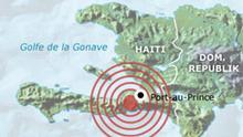 Karte Infografik Erbeben erschüttert Haiti Deutsch ohnn Überschrift