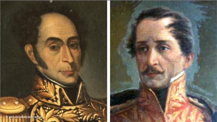 Francisco de Paula Santander y Simón Bolívar, el colombiano defendía las leyes, el venezolano el poder de las armas.