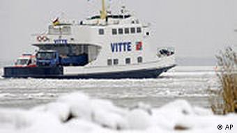 A ship stuck in the Baltic Sea