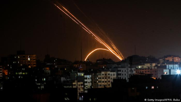 Rockets are fired from the Gaza Strip toward Israel on November 13, 2019