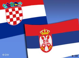 The Croatian and Serbian flags
