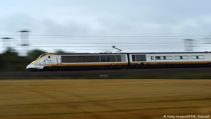A Eurostar train travels through the countryside near Folkestone in Kent, south east England.