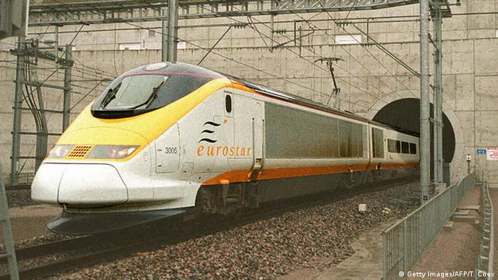 Picture dated 14 November 1994 shows the first Eurostar commercial train leaving the Chunnel en route to Paris.