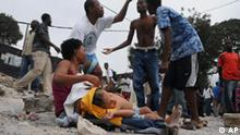 People gather in the street after an earthquake in Port-au-Prince, Haiti, Tuesday, Jan. 12, 2010. A 7.0-magnitude earthquake, the largest ever recorded in the area, rocked Haiti on Tuesday. (AP Photo/Jorge Cruz) ** NO PUBLICAR EN REPUBLICA DOMINICANA **