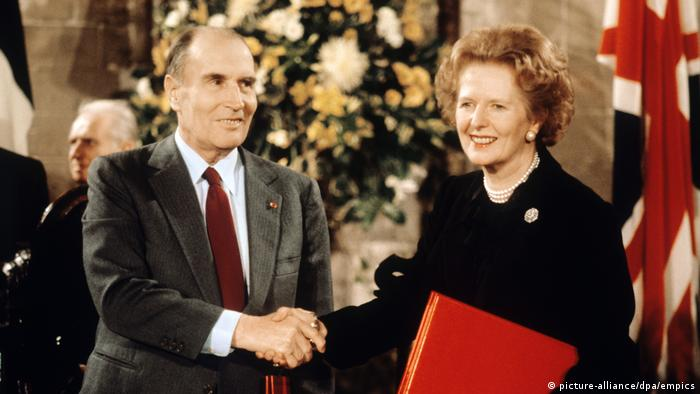 Margaret Thatcher and Francois Mitterand at Canterbury Cathedral for the signing of the Channel Fixed Link Treaty.