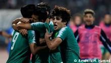 Soccer Football - World Cup 2022 Qualifier - Second Round - Group C - Iraq v Iran - Amman International Stadium, Amman, Jordan - November 14, 2019 Iraq's Alaa Abbas celebrates scoring their second goal with teammates REUTERS/Muhammad Hamed
