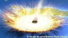 Illustration eines Asteroides, der die Oberfläche des Planeten trifft