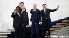 South Africa's President Cyril Ramaphosa, China's President Xi Jinping, India's Prime Minister Narendra Modi, Russia's President Vladimir Putin and Brazil's President Jair Bolsonaro pose for a photo at the BRICS summit in Brasilia, Brazil November 14, 2019. Pavel Golovkin/Pool via REUTERS