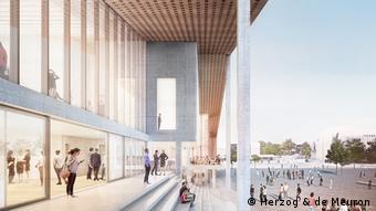 Skizze zeigt weite Freitreppe zu einem modernen Gebäude mit großer Glasfront (Foto: Herzog & de Meuron).