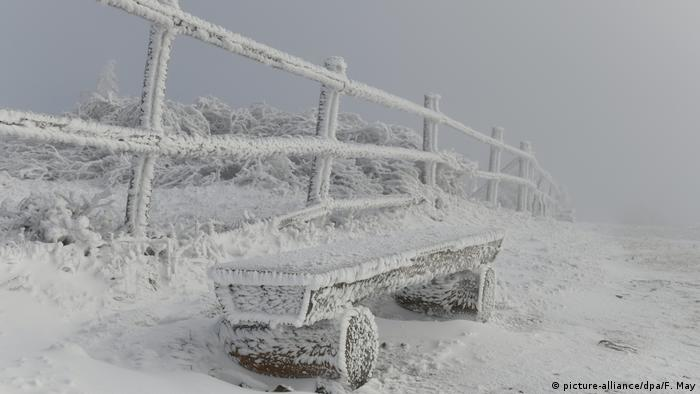 Snowfall on the Brocken peak (picture-alliance/Frank May)
