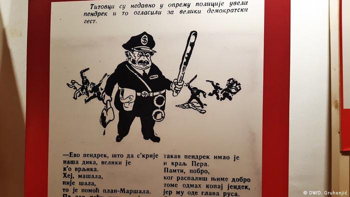 Titovci su nedavno u opremu policije uveli pendrek i to oglasili za veliki demokratski gest, stoji iznad ove karikature.