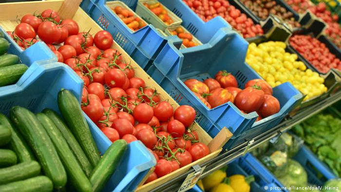Fruits and vegetables at a market