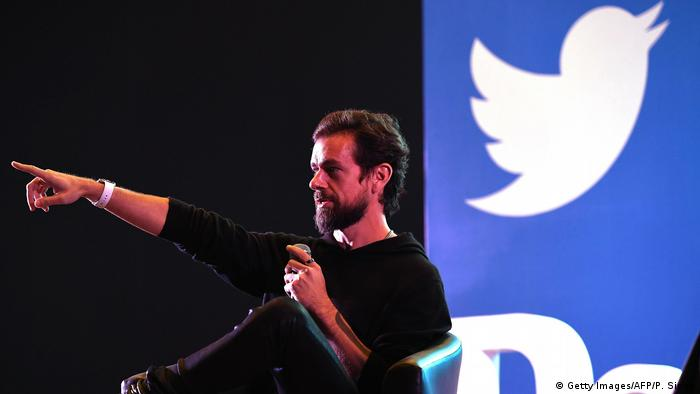 Twitter CEO and co-founder Jack Dorsey gestures during a 2018 speech in New Delhi, India
