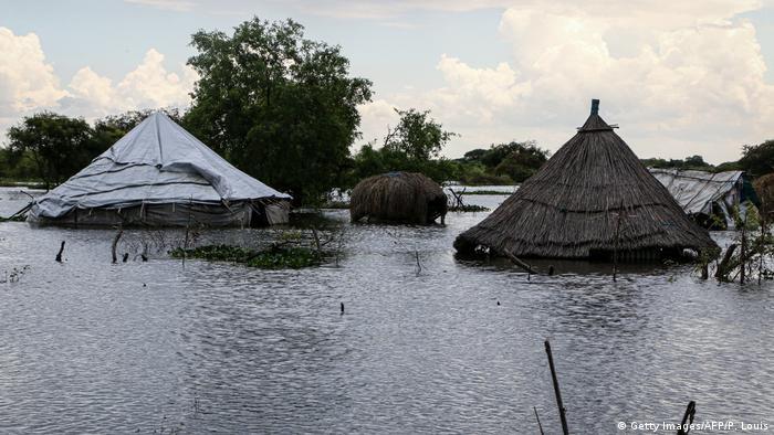 Südsudan Überschwemmungen Hütten